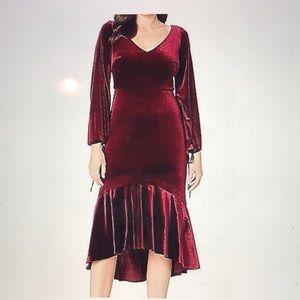 Taylor, red wine color velvet V neck dress